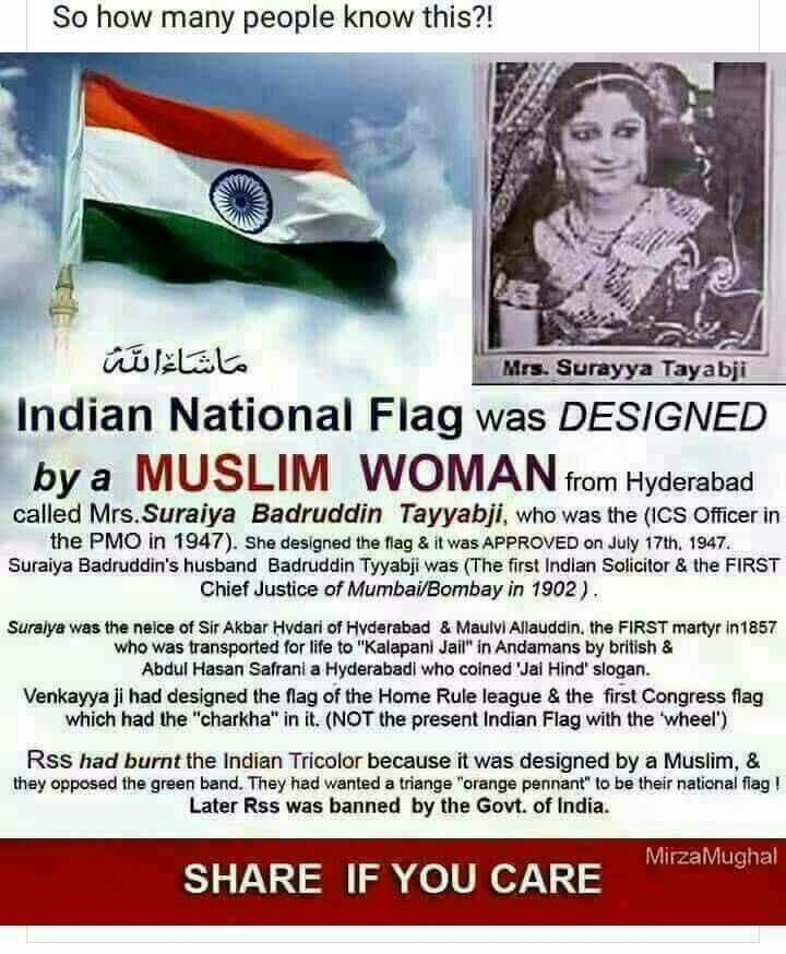 How many know that a Muslim  woman designed the Indian National flag ?
