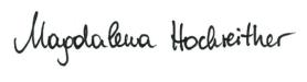 Unterschrift Magdalena Hochreither DGKS, Dienstleistung für Gesundheit