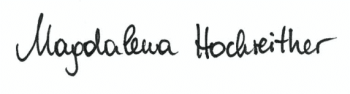Unterschrift Magdalena Hochreither Craniosacral Praktizierende