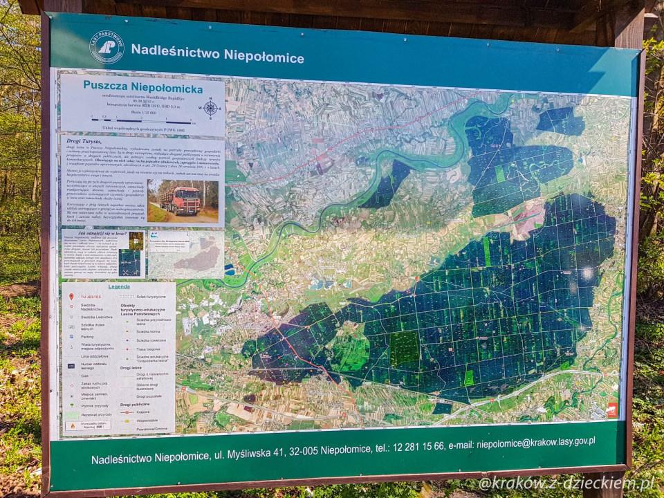 mapa Puszczy Niepołomickiej