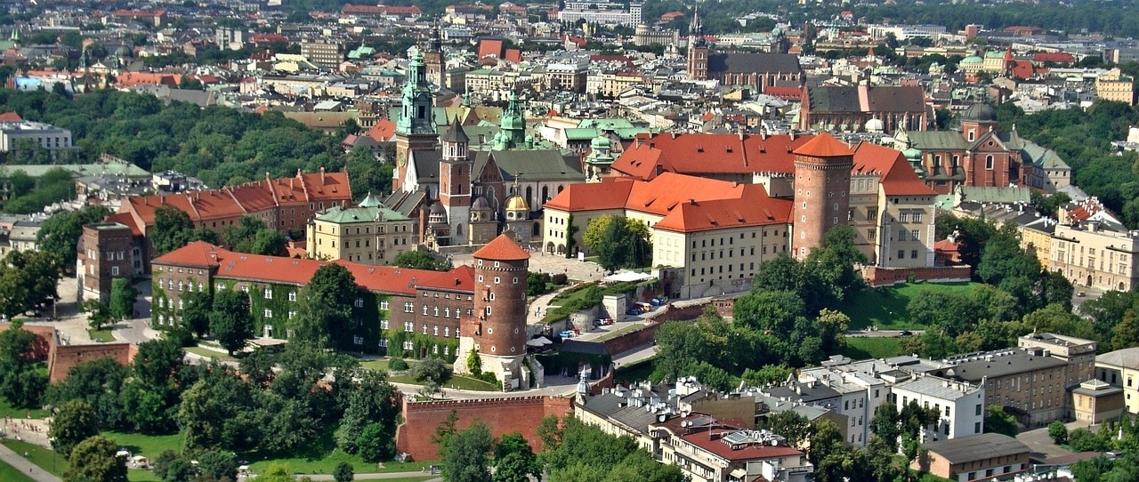The castle area and Krakow seen from above