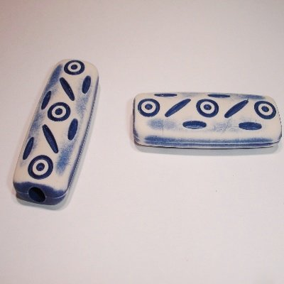 ethnic bead blauw 40x14x6 mm