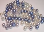 glaskralenmix parels blauw 6 mm