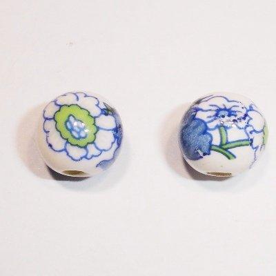 porselein bloem blauw/groen 10 mm