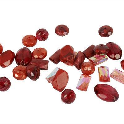 kunststof kralenmix harmony rood 10-17 mm