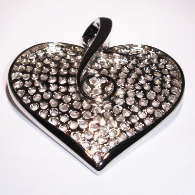 broche hart zilver kleurig 6,5 x 7 cm