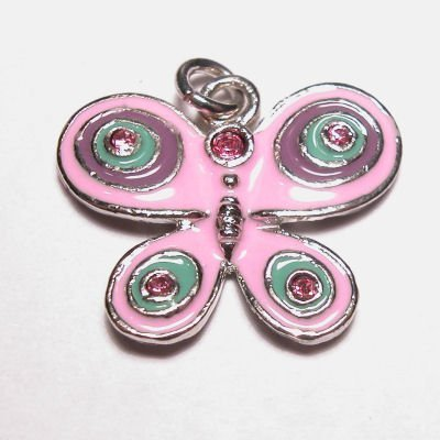 emaille hanger vlinder roze 18x22 mm