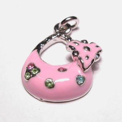 emaille hanger tasje roze 17x20 mm