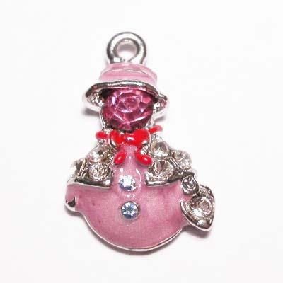 emaille hanger sneeuwpop oud roze 25mm