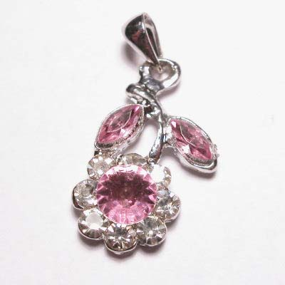emaille hanger bloem roze 25mm