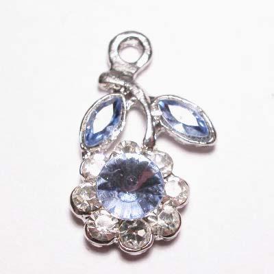 emaille hanger bloem l.blauw 25mm