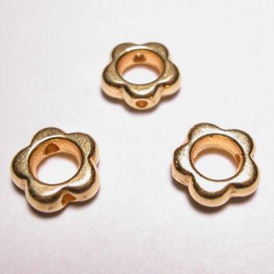 kraal 2-oog bloem mat goud 10 mm