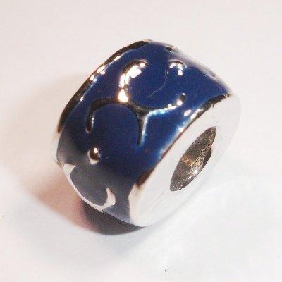pandorastijl kraal bewerkt d.blauw 11x8 mm