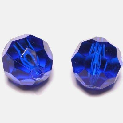 Kraal facet safir blauw 14 mm