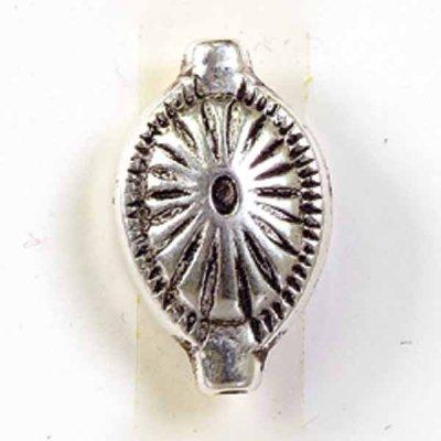kraal verzilverd ovaal bloem 12x19 mm