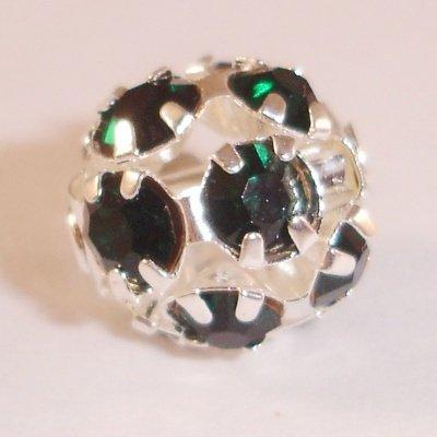 metalen strass bol 10 mm smaragd groen