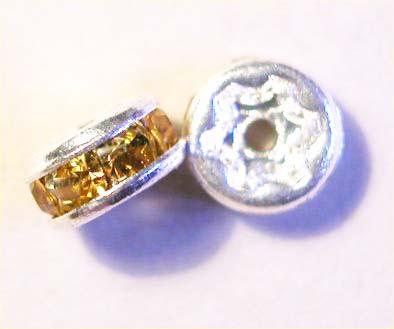 strass rondel zilver topaas 5 mm