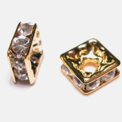 strass rondel vierkant goud 6 mm