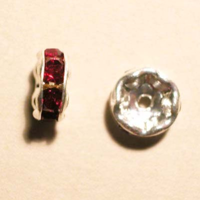 strass rondel zilver rood 6,8 mm