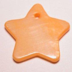 parelmoer hanger ster oranje 18 mm