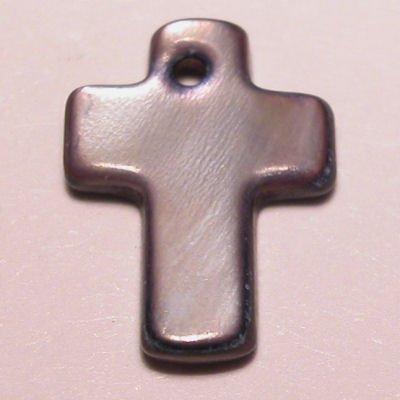 parelmoer hanger kruis paars 12 mm