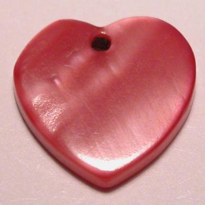 parelmoer hanger hart fuchsia 12 mm