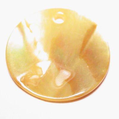 parelmoer hanger rond geel 20 mm