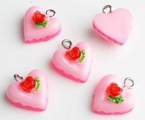 hart taartje 15x14x15 mm roze