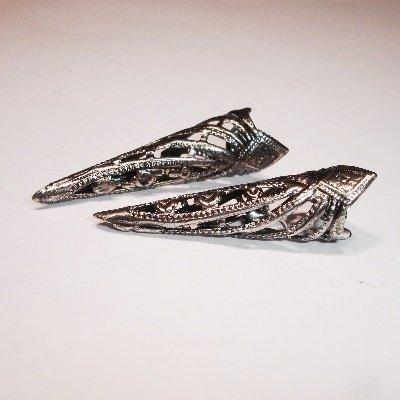 filigraag hoorntjes oud zilver 35 mm