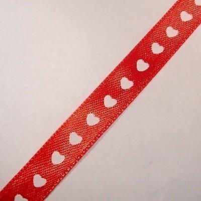satijnlint 10 mm rood met hartjes