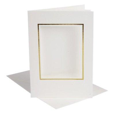kaart met vierkant passepartout off-white/goud
