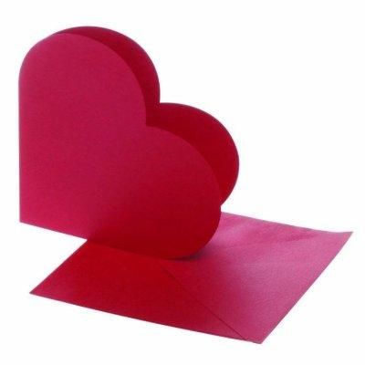 kaart hart rood 12,5x12,5 cm