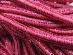 elastisch draad/stiek 3 mm roze met glimmende streep