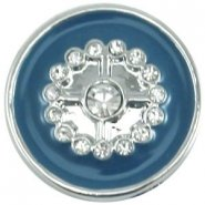 Easy button bloem strass blauw