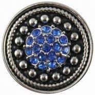 Easy button antiek zilver blauw strass