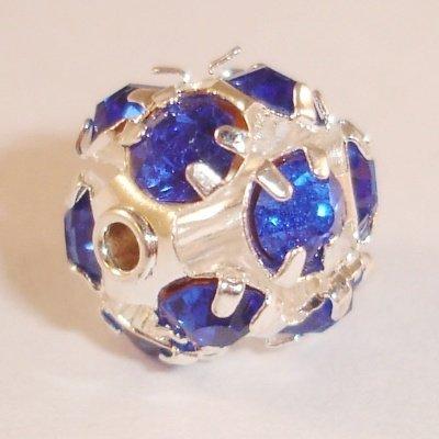 metalen strass bol 6 mm smaragd safierblauw