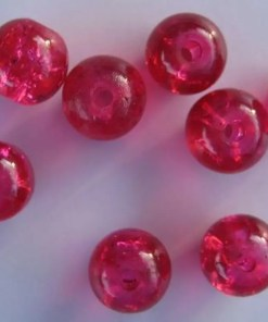 Glaskralen crackle 8mm rood