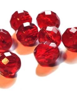 Facet glaskralen rood 8mm