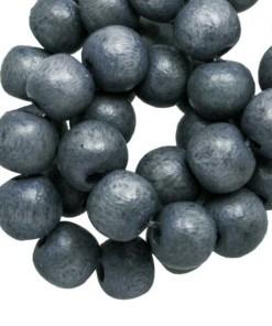 Houten Kralen Vintage Look (6 mm) Grey Blue