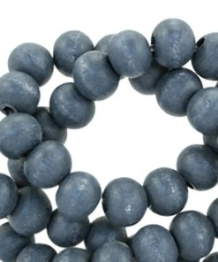 Houten kralen rond 6 mm Dark blue