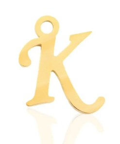 Roestvrij stalen (RVS) Stainless steel bedels Letter K