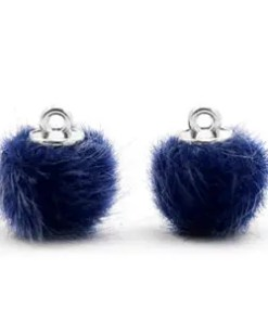 Pompom bedels faux fur 12mm Dark blue