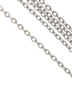 Stainless Steel Jasseron (2 x 1.5 x 0.4 mm) Antiek Zilver (1M)