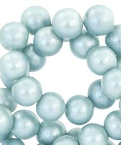 8 mm glaskralen pearl glitter Light haze blue