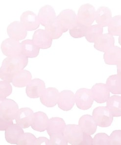 Top Facet kralen 6x4mm disc light orchid pink-pearl shine coating