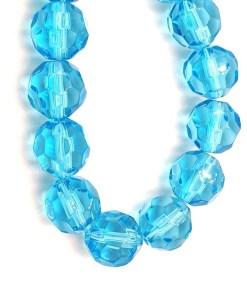 Facet glaskralen rond 12mm Turquoise blauw