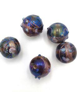 Indiase glaskralen met olieglans 12mm