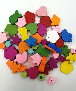 Kleurige houten kinderkralen in diverse vormen