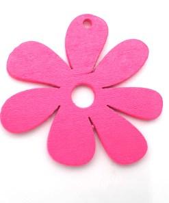 Houten bedel Bloem 23x23mm Fuchsia roze