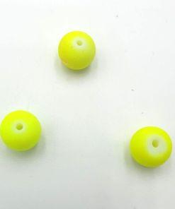 Rubber gecoate glaskralen Geel Neon 10mm